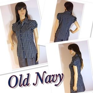 ADORABLE OLD NAVY PLAID BUTTON DOWN TOP